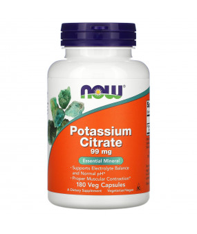 Now Foods Potassium Citrate, 99 mg, 180 Veg Caps, Kaaliumtsitraat